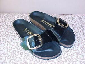 NEW BIRKENSTOCK Big Gold Buckle Madrid Leather Sandals Shoes 37 7 Black Patent