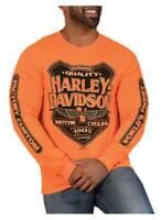 Harley-Davidson Men's Back Alley Long Sleeve Crew-Neck Shirt - Safety Orange