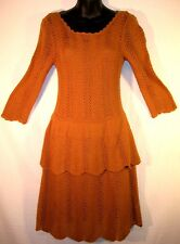 Anthropologie Knitted Knotted Peplum Sweater Dress Small Whiskey Brown Open Knit
