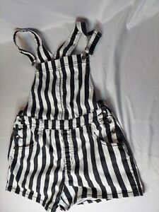 Black Heart Overall Shorts Striped Women's Large Hot Topic