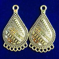 2Pcs 38x21x5mm Carved Tibetan Silver Teardrop Pendant Bead Connector