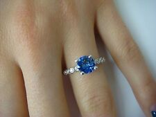 ELEGANT, 1.20CT AAA TANZANITE AND DIAMONDS, DESIGNER RING 18K WHITE GOLD