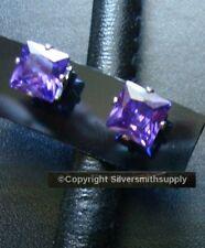NEW Stainless Steel 7mm Purple Crystal Birthstone Stud CZ Surgical Earring FJ085