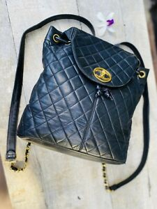 Authentic Chanel Vintage Quilted Flap Black Lambskin Backpack🌺Collector'