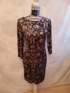Oasis Dress size M   Wiggle Pencil  3/4 Sleeve Round Neck Gold,Mix