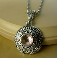 PINK October birthstone snap silver ornate pendant Necklace Jewelry women