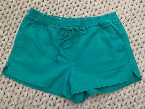 LOFT Ladies Kelly/Emerald Green Linen-blend Drawstring Elastic Shorts, Sz S