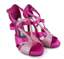 Fioni Night Women Pink Sparkly Sexy Criss Cross Strap High Heel Size 5.5 Club