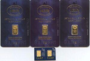 5 - 1 Gram Gold Bars .9999 Fine Instanbul  Refinery & Pamp - MC48