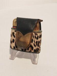 Vintage 1940's 50's Gold EVANS  Cigarette Lighter Leopard Jaguar Skin Fur Hair