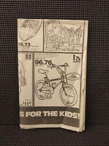 Vtg 1986 Huffy BMX Sigma Bike Print Ad 4x5 Newspaper Rare Old School Bicycle GUC
