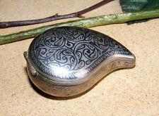 Antique Islamic Caucasian silver niello pill snuff box tabatiere tabac boite n133