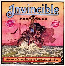 Arcadia Florida Invincible Battle Ship Orange Citrus Fruit Crate Label Art Print