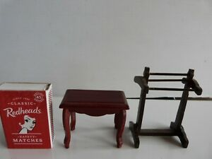Doll's House Furniture Table & Towel Rack.
