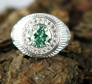 3.99 Ct Green Diamond Solitaire Halo Men's Ring-Special Occasion