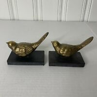 Antique/Vintage Small Brass Bird Figurine's Set Of 2 Mid-Century Songbirds