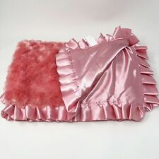 New listing Maison Chic Pink Satin Ruffle Baby Blanket Swirl Soft Solid Lovey Large