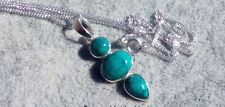 turquoise necklace, solid sterling silver, silver turquoise pendant.