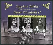 Nevis 2018 MNH Queen Elizabeth II Coronation Sapphire 3v M/S Royalty Stamps