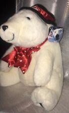 near mint vtg 1997' **Coca-Cola** White Plush Hat/Tie Stuffed Polar Bear
