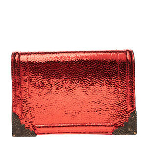RRP €185 TIPE E TACCHI Suede Leather Clutch Bag Cracked Effect Metallic Flap