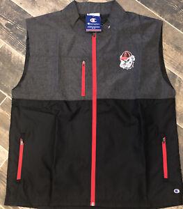 New Champion Georgia BulldogS UGA Wind Vest Black Gray Active Nylon Poly Zip L