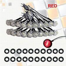 """20X Mini 12V RED Clear 3/4"""" Round Side 3 LED Marker Trailer Truck Bullet Light"""