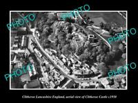 OLD LARGE HISTORIC PHOTO OF CLITHEROE ENGLAND, AERIAL VIEW OF CASTLE c1950