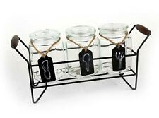 3 Piece GLASS JARS STORAGE CANISTER SET with Metal Stand, Catering