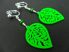 A PAIR OF GREEN  WOODEN DANGLY LEAF  CLIP ON EARRINGS. NEW.
