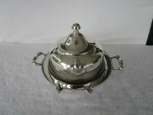 Vintage~ 3pc~ Poole Silver Company Silver Plated [ COVERED BUTTER DISH ] !!!