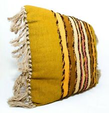 PERUVIAN MID-20TH C VINT WOOL THROW PILLOW IN MUSTARD/OLIVE/PINK STRIPES, FRINGE