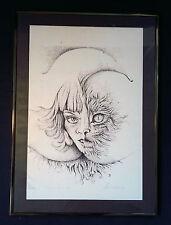La Donna Gatto. Anni ' 70 anni. Originale firmato Fantasia Litografia di 74 3v3