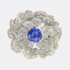 1.48 Carat Sapphire and Diamond Floral Ring 18ct White Gold