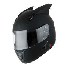 1Storm Motorcycle Bike Full Face Helmet Horn Wing as Bonus Matt Black