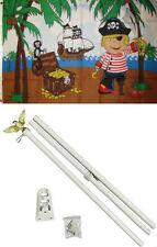 3x5 Jolly Roger Pirate Kid Boy Treasure Island Flag White Pole Kit Set 3'x5'