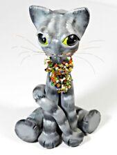 Raku Cat Folk Art Pottery Sculpture
