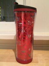 Shiny Red Bird Cutout Pattern Starbucks Travel Tumbler Mug Coffee Cup 12oz 2008