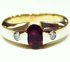 1.19CT 14K Gold Natural Rubellite Tourmaline Diamond Vintage Engagement Ring