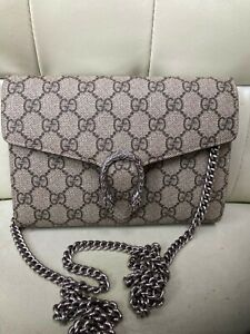 Authentic Gucci Dionysus GG Supreme Chain Wallet/Crossbody Bag WOC Red