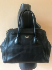 Prada Saffiano leather Black leather shoulder bag + certificate