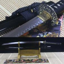 Full Tang Japanese Samurai Sword T10 Steel Clay Tempered Blade Katana Real Hamon