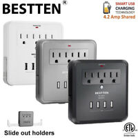 BESTTEN 3/4 USB 3 Outlet Wall Tap Adapter Surge Protector Wall Receptacle ETL