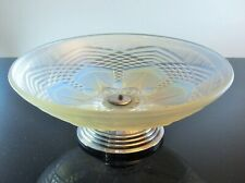 Art Deco Large Bowl Fruit on Stand Glass Molded Opalescent Sabino France Sign