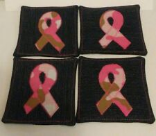 Handmade Camouflage Breast Cancer Jean Coasters