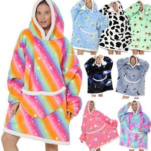 Adult Ladys Hoodie Blanket Oversized Ultra Plush Soft Sherpa Wearable Sweatshirt