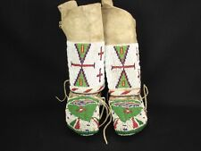 Beaded Pair Child's Souix Moccasins, Leggings, Native American Indian, c:1880-85