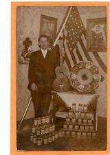 Real Photo Postcard RPPC - Man Guitar Edison Phonograph and Cylinders - Music