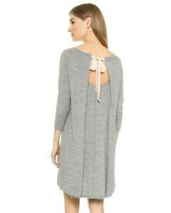 $198.50 Club Monaco BRIA DRESS ROBE Heather Grey Pink Bow Sweater WOOL M