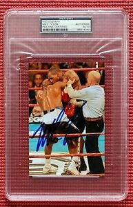 """PSA/DNA encapsulated autographed MIKE TYSON signed 4""""x 6"""" color photo BITE FIGHT"""